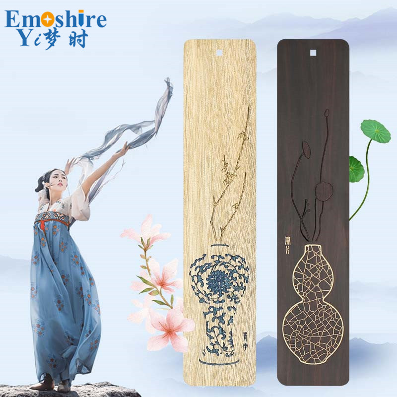 Retro Brand Redwood Bookmark Set Wooden Bookmark Tassels Classical Bookmark Creative Art Gifts Customization M092