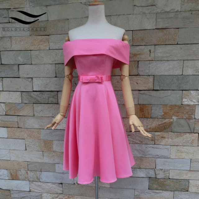 2018 New Real Picture Pink Strapless A line Bow Satin Sashes Short ...