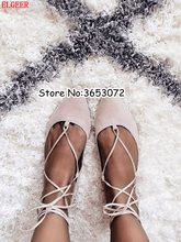 Hot Sale Pointed Toe Lace Up Flats Ballet Shoes Women Suede Rome Designed  Casual Shoes Spring Autumn Lady Leisure Shoes Woman ddd60a2f093e