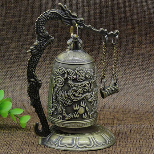Lock Dragon Carved Buddhist Good Luck Bell Geomantic for Meditation Altar