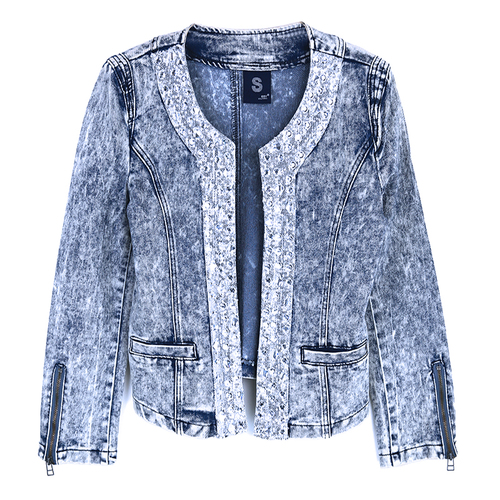 Spring Jeans Female Short Cardigan Slim Elastic Denim Sleeve All Match Nine Sequins Patchwork Rhinestone Women Jacket ...