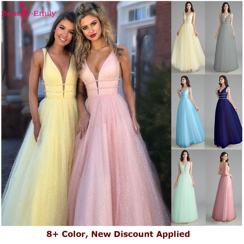Beauty Emily New Arrival Sexy V Back Spaghetti Strap Evening Dress 2020 Elegant Open Back Chiffon Long Formal Party Dress