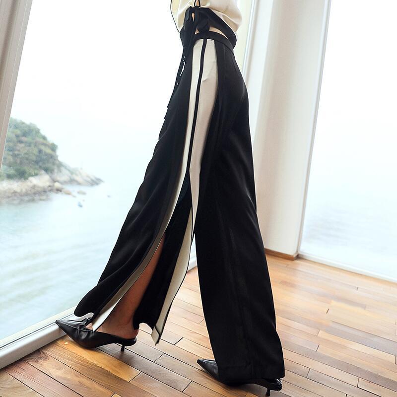 Paneles Black 2019 A biutefou Empalmado Patchwork Moda Primavera Rayas Mujeres Diseños Pantalones Para Largos Cintura Pierna Alta Ancha De UqqnxvwAB