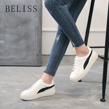 BELISS spring autumn women flat shoes lace up soft genuine leather ladies shoes handmade flats casual women sneakers platform M8 chinese rhinestone foldable spring autumn crystal large size china genuine leather flats peach roll up famous brand shoes 10