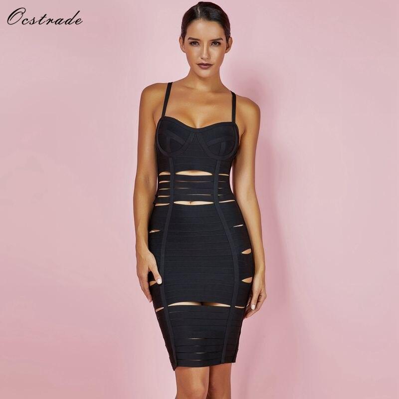 Ocstrade Black Bandage Dress 2019 New Year Fashion Summer Bodycon Cut Out Sexy Bandage Womens Dress