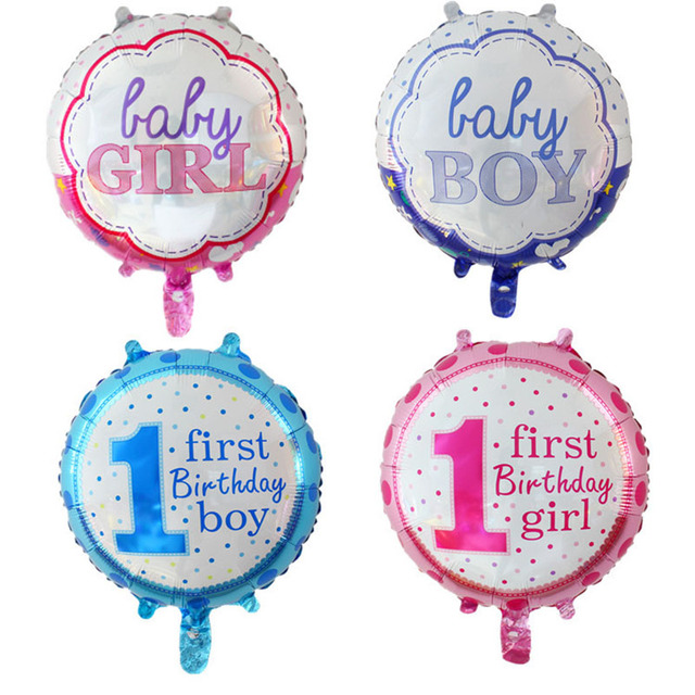 5pcs Lot 18 Inch Baby Shower Balloons Happy Birthday Foil Ballon Girl Boy 1 Year Old Decoration Kids Party Supplies