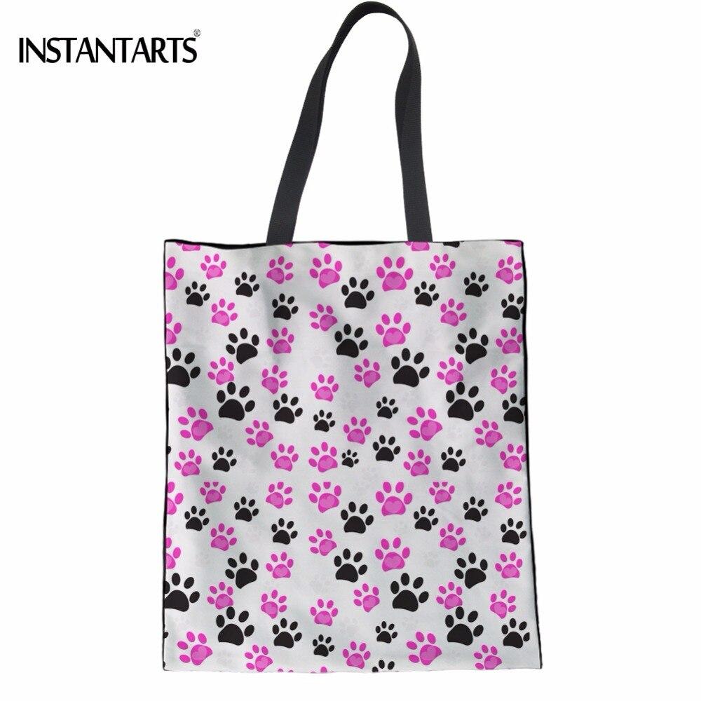 INSTANTARTS Colorful Cat Footprint/Paw Print Teen Girl Cloth Tote Bags Casual Multi-function Shoulder Bags Lady Reusable Handbag
