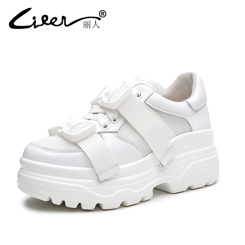 Liren 2018 Spring Women Casual Shoes Height Increasing Platform Wedges Shoes for Women Lace up Sneakers Thick Soled Buckle women harajuku cartoon lace up wedges platform shoes 2015 casual shoes trifle thick soled graffiti flat shoes ladies creepers
