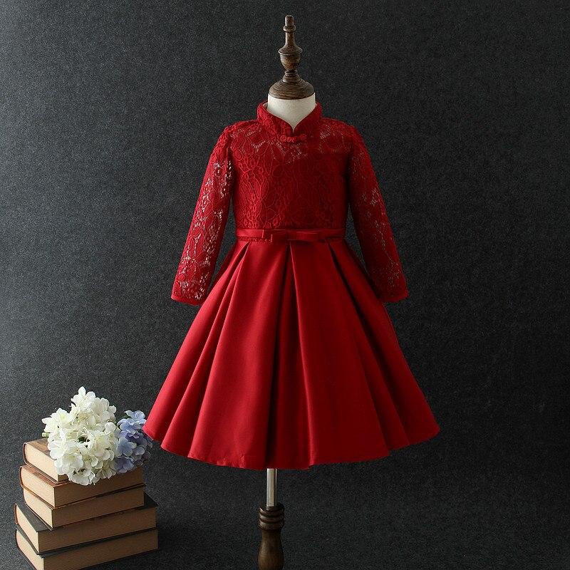 Красное платье Элегантное рождественское платье с длинными рукавами и цветочным узором для девочек 2020, Vestido Princesa, одежда для девочек 3, 4, 6, 8, ...