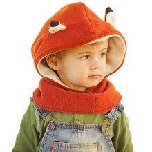 Venta caliente del sombrero del bebé niñas bebés niño zorro invierno con  capucha bufanda sombrero de lana de punto ganchillo del. 9310a19b9f9