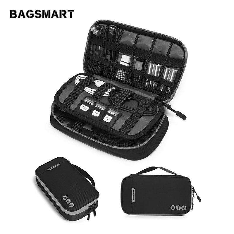 BAGSMART Travel Accessories Portable Electronic Bags For Phone Charger Data Cable SD Card USB Earphone Pack Suitcase