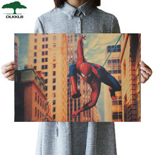 DLKKLB Marvel superhéroe Vintage Poster Spiderman Bar Café muebles para el hogar pegatina de pared Vintage pintura decorativa 51,5x35 cm(China)