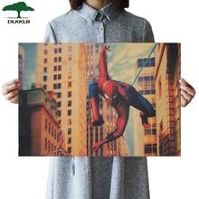 DLKKLB Marvel Super Hero Vintage Poster Spiderman Bar Café decoración del hogar pegatina de pared Vintage pintura decorativa 51.5x35cm