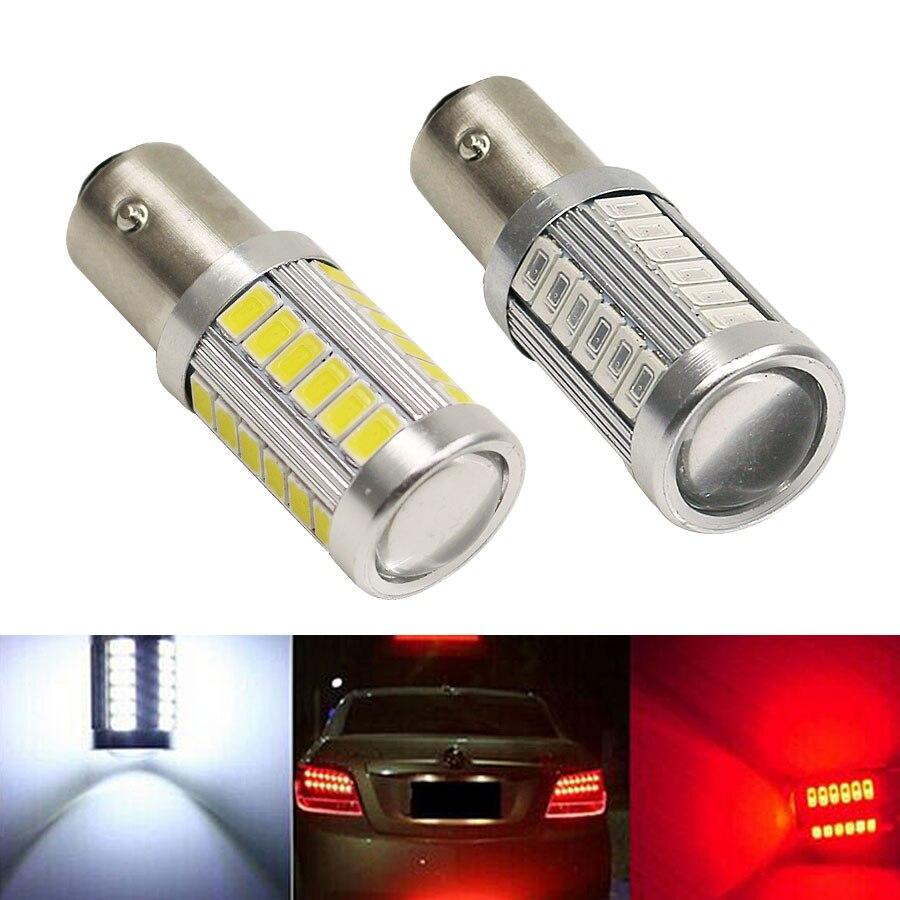 HYZHAUTO 2 шт. P21W 1156 BA15S светодиодный ные лампы 5730 33 SMD Светодиодные Автомобильные фонари заднего хода сигнал поворота 12 в белый