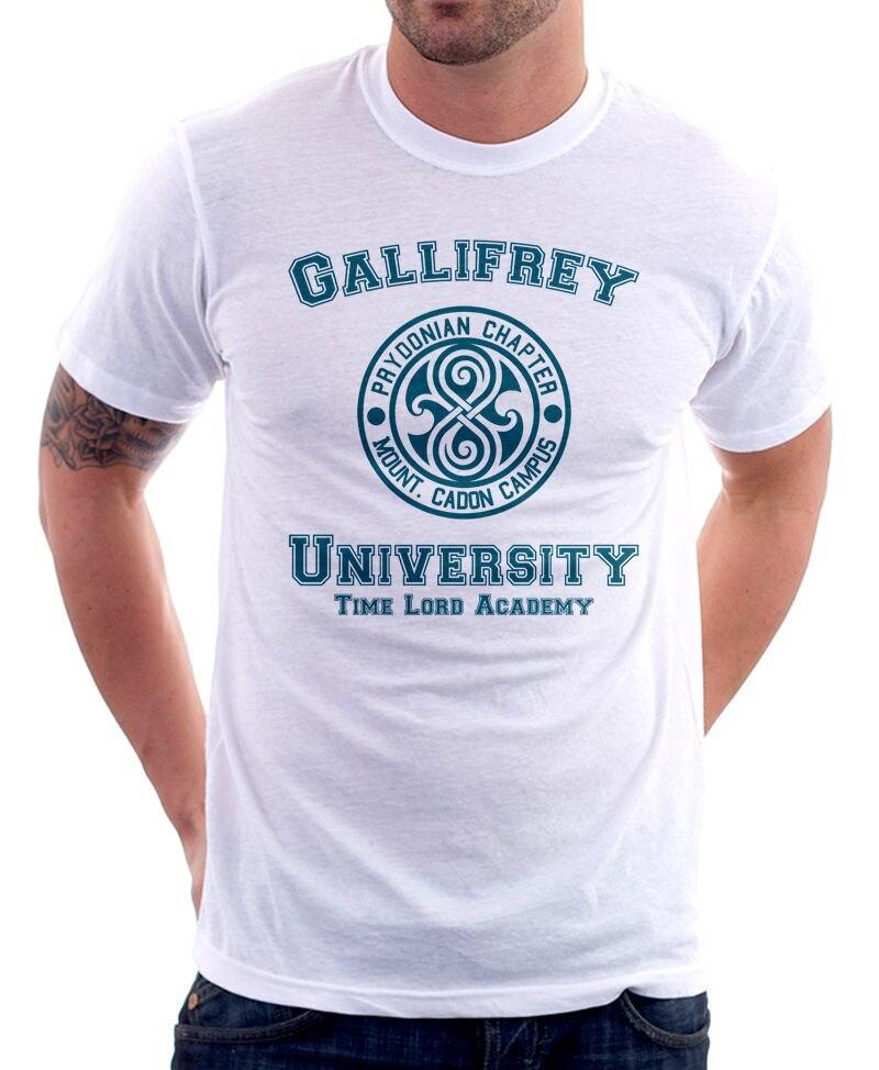 2018 уличная короткий рукав Галлифрей Университет Повелитель Времени Академии путешествия смешно пародия белый футболка 9828 Высокое качеств...