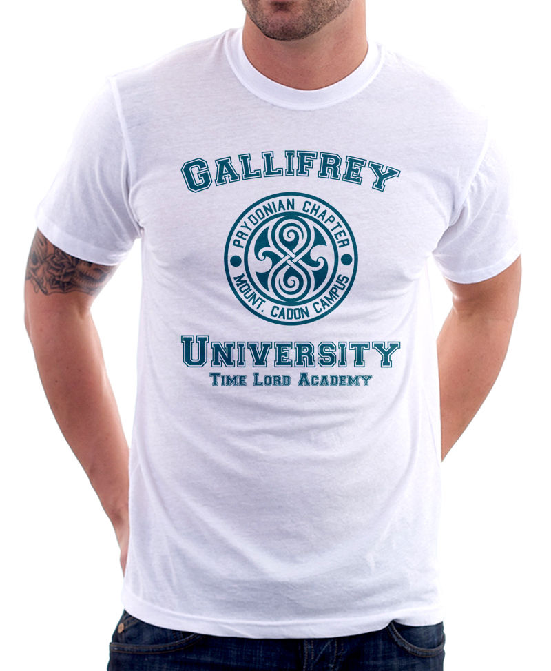 2018 Streetwear Short Sleeve Gallifrey University Time Lord Academy Travel Funny Parody white t-shirt 9828 High Quality Top Tees
