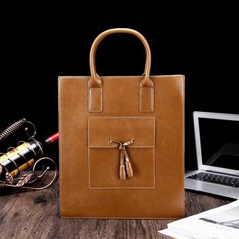 2019 Fashion Retro Crazy Horse PU Leather Men Shoulder Bag 100% High Quality Messenger Bags Men's Business Hand Bag
