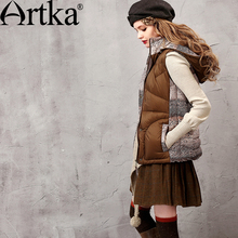 Artka Women's 2015 Winter Vintage Short Section 90% White Duck Jacket Sleeveless Comfortable Casual Down Camis DK15356D