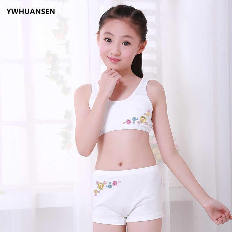 8791915e9dcf6 ... YWHUANSEN 2pcs set Teenage Girl Underwear+ Training Bra Sports Clothes  For Teens Wireless Student Small ...