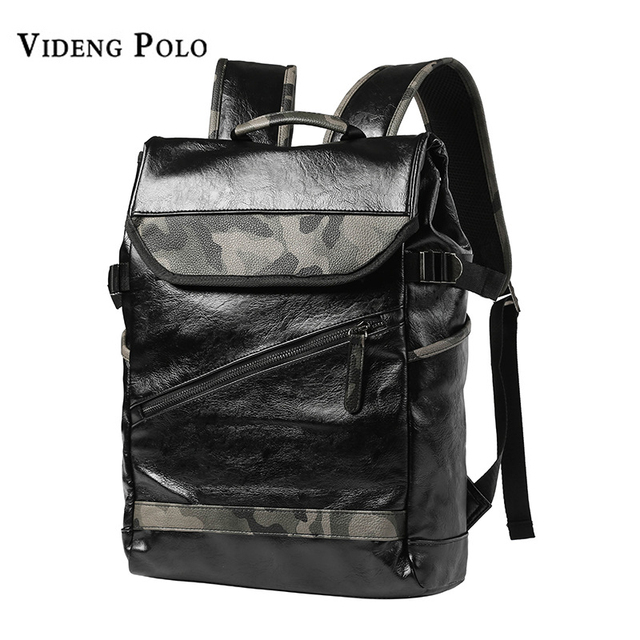 2f3290a8b8fb VIDENG POLO Fashion Simple Patchwork Large Capacity Leather Camouflage For Travel  Casual Men Daypacks Travle Backpack