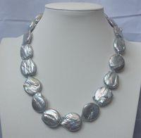 Free Shipping >>N1504081 20x25mm Natural Grey Keshi Pearl Necklace
