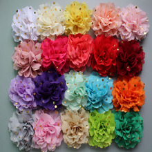 120ps/lot new arrival 24colors 10cm Gold Stamp Dots Chiffon Flowers Without clip  Flat Back DIY Flower For hair accessories