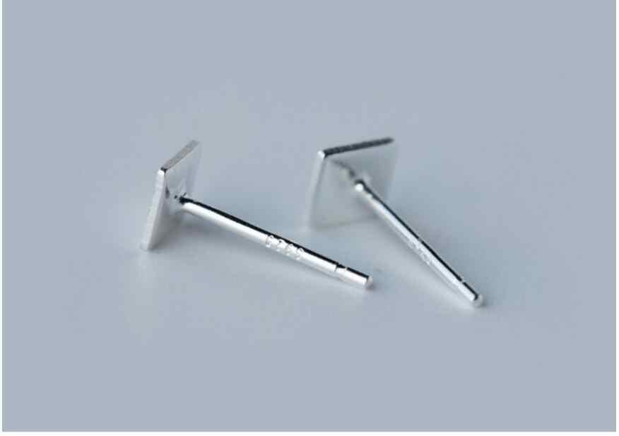 925 Sterling Silver Persegi Stud Earrings Wanita Hadiah Natal Perhiasan Mencegah Alergi pendientes boucles d'oreilles A052