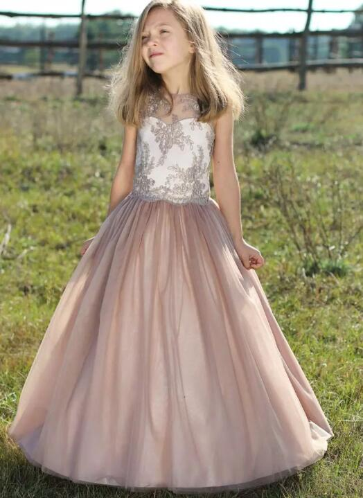 New Customized A Line Flower Girls Dresses for Wedding Appliques Tulle Sleeveless O Neck First Communion Gown Any Size jewel neck sleeveless floral print a line belted dress
