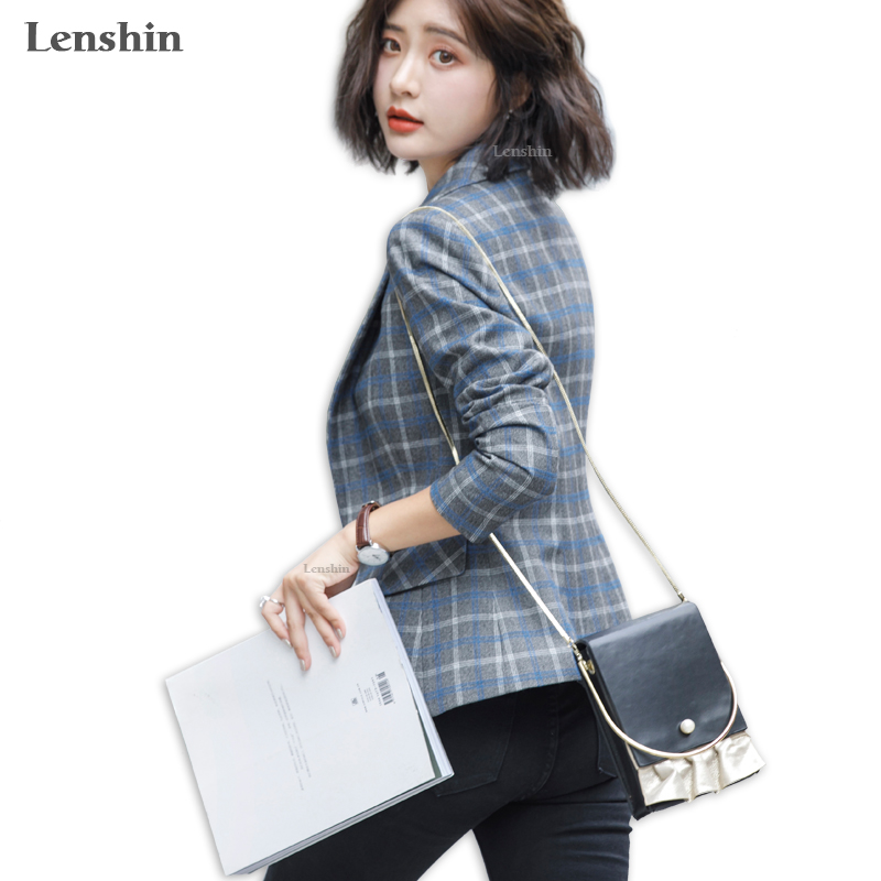 Lenshin Soft and Comfortable High-quality Plaid Jacket with Pocket Office Lady Casual Style Blazer Women Wear Single Button Coat 2