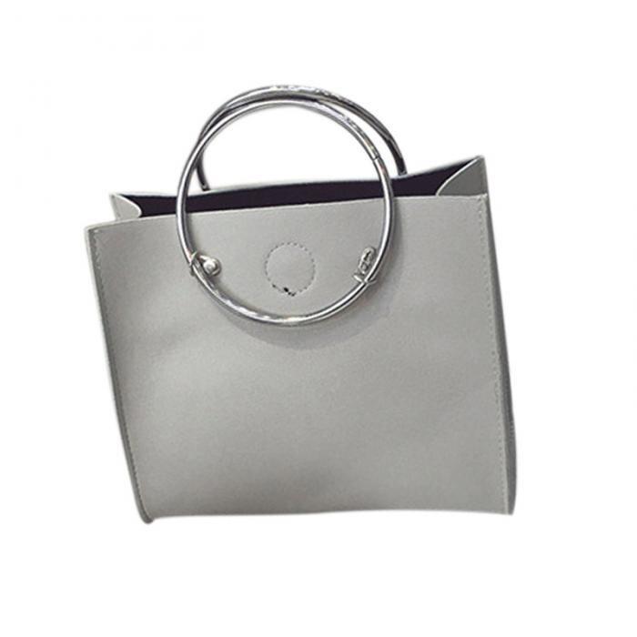 7b278ad0a4501 Mode femmes Message sacs avec petit sac à main en métal anneau poignée en  cuir sac à main dames filles à la mode décontracté sac à bandoulière LB