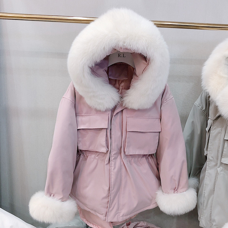 Big Real Fox Fur Collar 2019 New Winter Women Coat White Duck Down Parka Warm Hooded Jacket Overcoat Female Loose Snow Outerwear