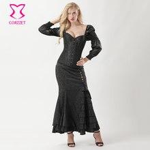 9de4fbc7065 Noir lanterne manches Vintage Sexy top corset avec longue volants sirène  jupe gothique Burlesque robe victorienne Steampunk Cost.