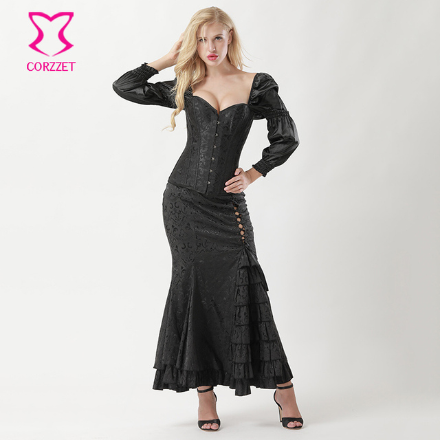 Black Puff Sleeve Sexy Corsets And Bustiers Plus Size Gothic Corset