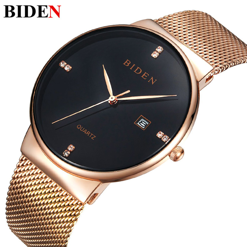 Gold Casual Crystal Quartz Watch Women Mesh Stainless Steel Dress Feminino Clock