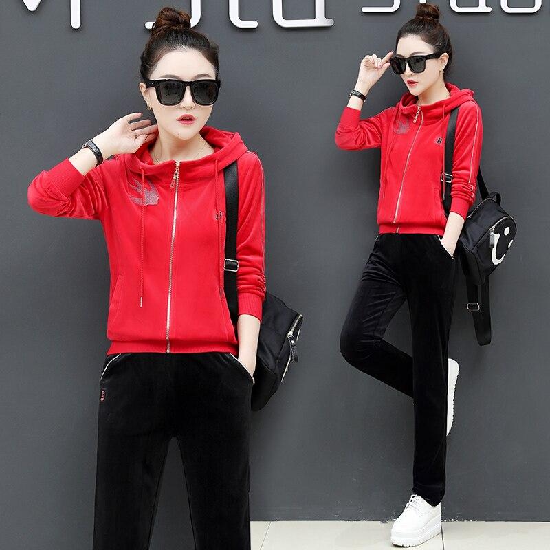 De 2 rouge Lâche La Femelle Occasionnel Costume Sportives D'or Printemps noir Survêtement Pantalon Taille Leuche Pièce Automne Velours Femmes Plus Mode Lavande Ensembles xFw4OOq