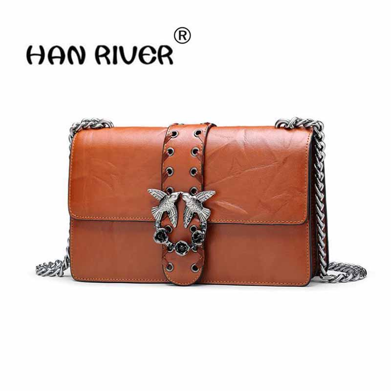 HANRIVER Autumn and winter new chain small square bag fashionable leather female slanting single shoulder bag metal female swall 2017 autumn and winter small bag new