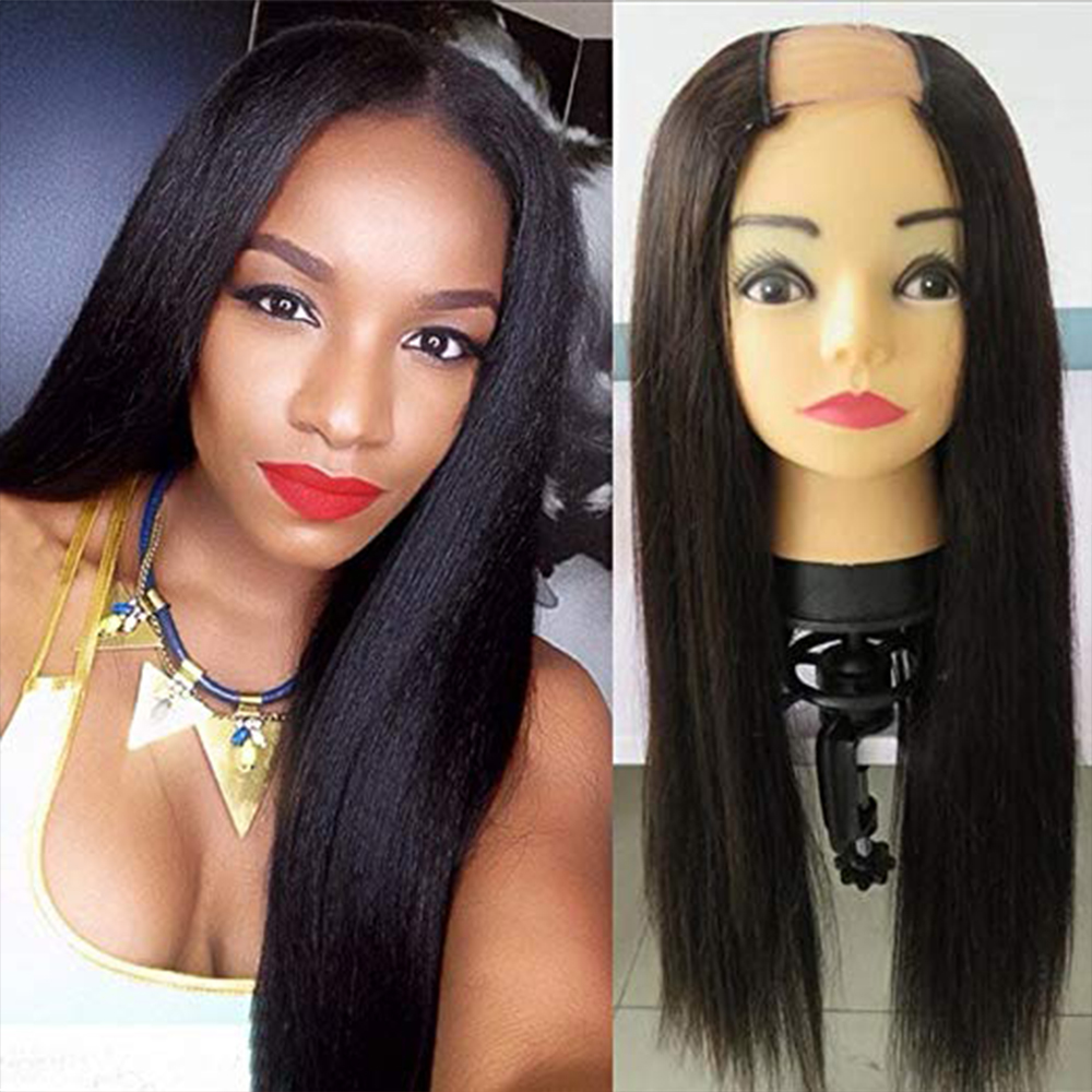 SimBeauty  Unprocessed Brazilian Remy Hair Straight U Part Wigs For Black Women 100% Human Hair Middle Opening 180% Density
