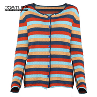 JOGTUME Colorful Striped Knitted Coat 2017 Autumn Womens Sweater Coat Long Sleeve Lady Fashion Casual Tops