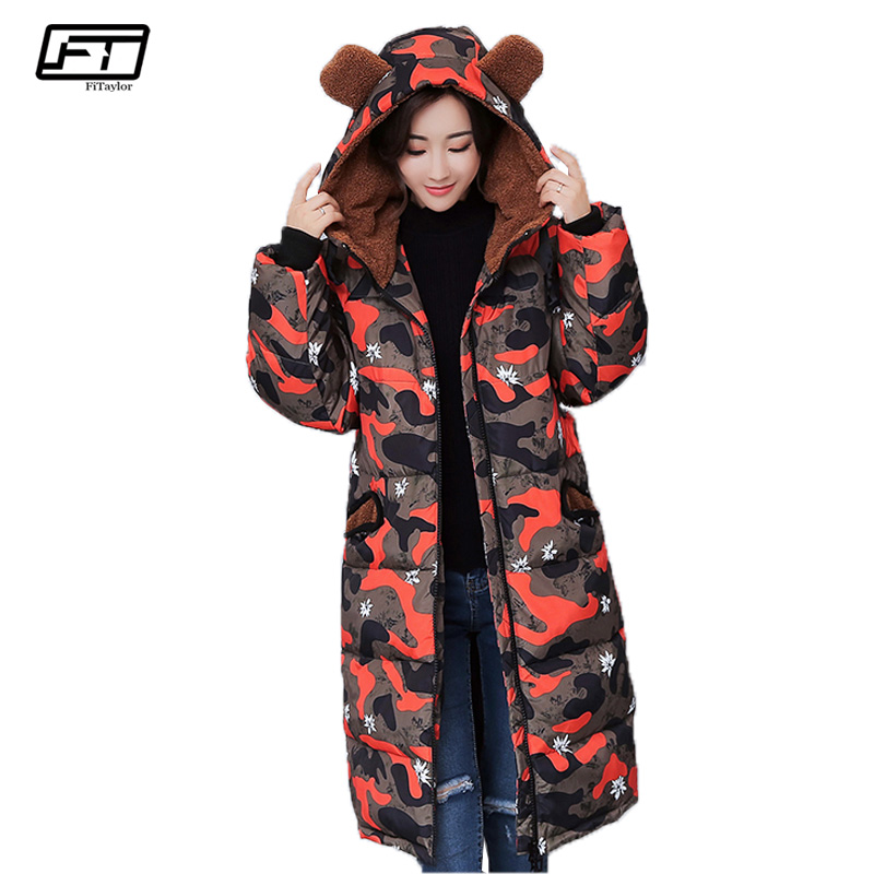 Fitaylor Winter Coat Women Jacket 2017 Slim Hooded Plus Size Thick Warm Cotton Padded Parka Mujer Casual Long Black Coats Femme jolintsai winter jacket women mid long hooded parkas mujer thick cotton padded coats casual slim winter coat women