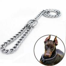 Металлический собачий ошейник с цепью из нержавеющей стали, двухрядный хромированный ошейник с регулировкой безопасности