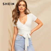 18b3b32c24e SHEIN Sexy White Deep V Neck Crop Wrap Belted Slim Fitted Top Solid T Shirt  Women Summer Elegant 2019 Short Sleeve Tshirt Tops