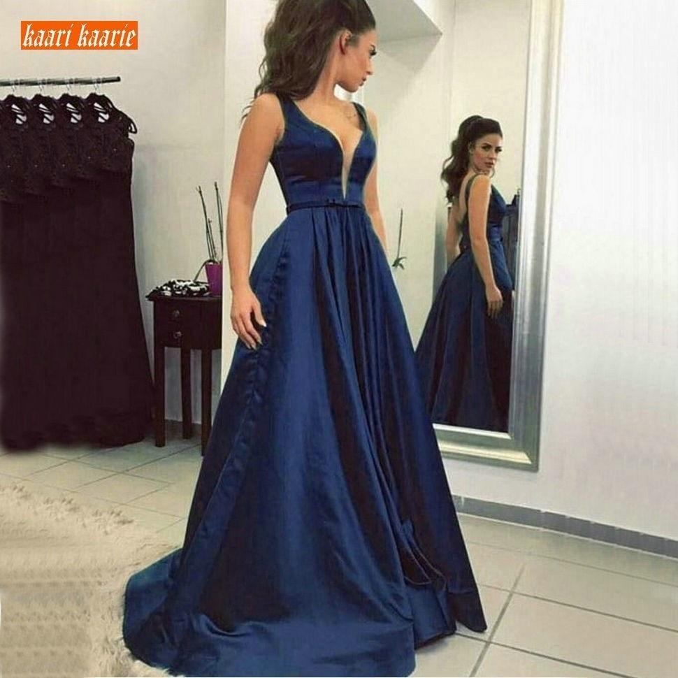 Simple Dark Navy Women Party Formal Dress Long Evening Dresses 2019 Sexy V Neck Satin Zipper