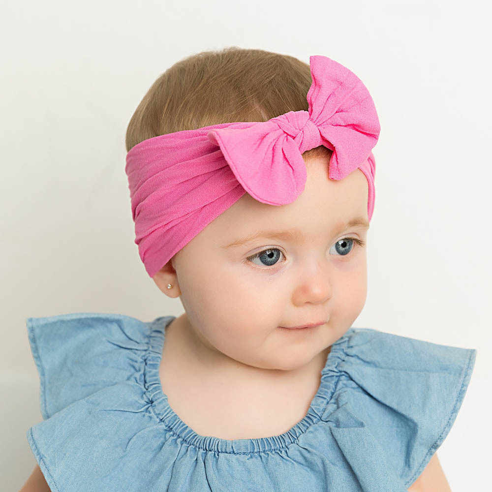 1329edf2557b5 21 Colors Baby Bow Nylon Headband For Girls Spring 2019 Kids Soft Elastic  Round Head Wrap Newborn Bow Hairband Hair Accessories