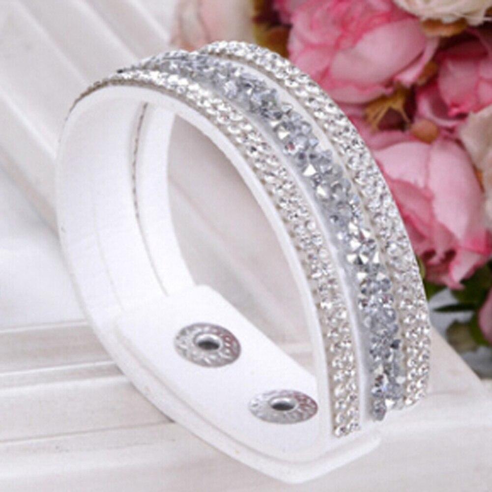 11 Colors Punk Style Fashion Rhinestone Muti layers Buckle Bracelet Leather Wrap Wristband Cuff Bracelet Bangle