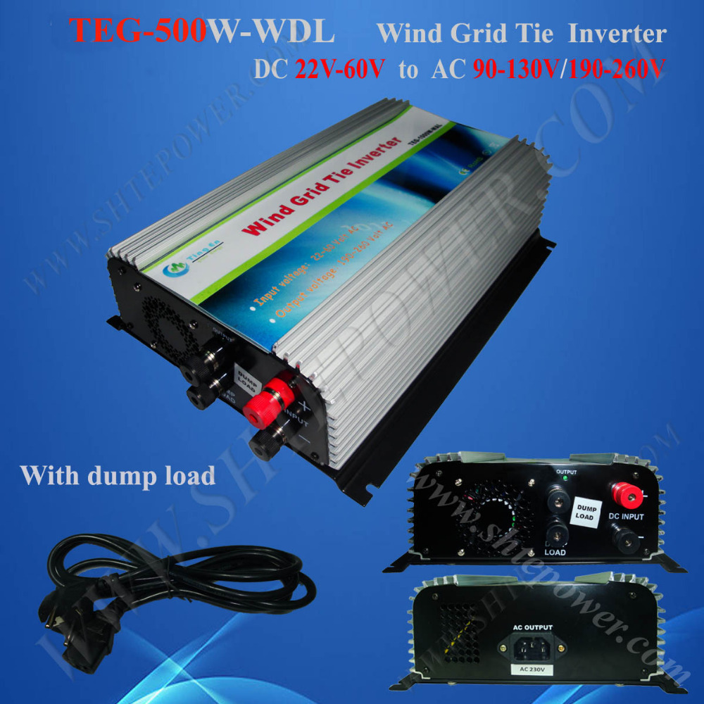 Grid Power Inverter, On Grid Wind Inverter With Dump Load Resistor  500W DC 24V 36V 48V to AC 110V/220V/230V 2000w wind power grid tie inverter with limiter dump load controller resistor for 3 phase 48v wind turbine generator to ac 220v