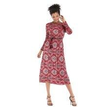 YYFS 2019 Fashion Womens Vintage Print Midi Dress Slim High Quality Chiffon Autumn Summer Long sleeve Women Party