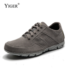 YIGER New Men casual shoes First layer cowhide suede big size Wear-resistant non-slip lace-up male leisure shoes   0313