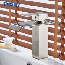 цена на 100-11C Waterfall Bathroom Faucet Chrome Cast Bath Tap Cold Hot Deck Mounted Square Vessel Faucet Sink Wash Basin Mixer Tap