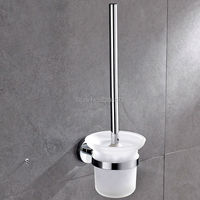 Wholesale And Promotions Retail Quality Chrome Plated Brass Wall Mounted Toilet Brush Holder Set Bathroom WC