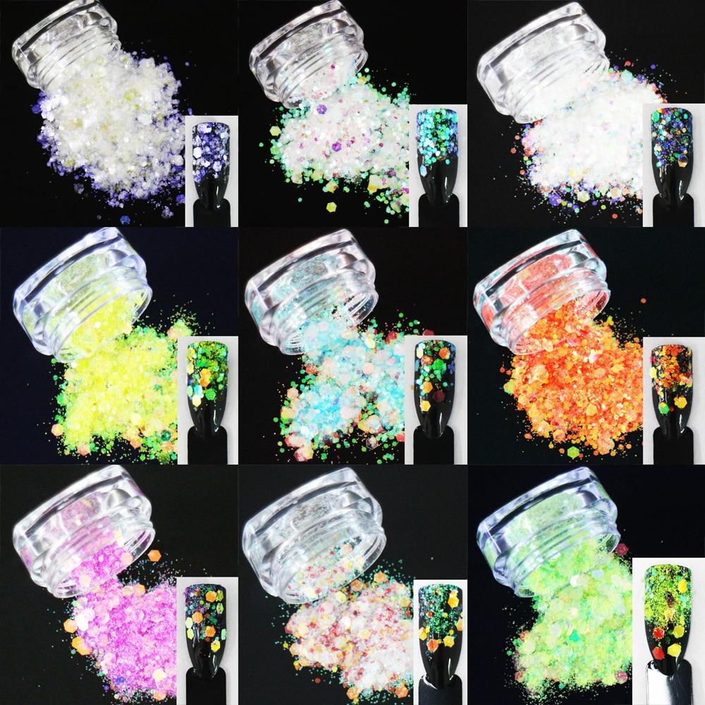 Schillernden Regenbogen Glänzende Farbe Scheiben 3d Nail Art Glitter Pailletten Mix Hexagon Formen Acryl Glitters Pailletten Aufrichtig 24 Entscheidungen